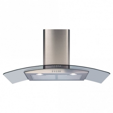 CDA 90cm Curved Glass Extractor Hood - Stainless Steel ECP92SS