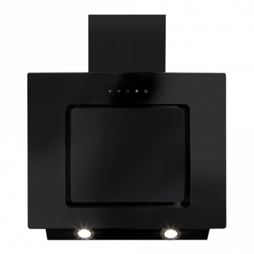 CDA Angled Extractor Black Glass With Level 2 Side Strips 60cm EVA60BL