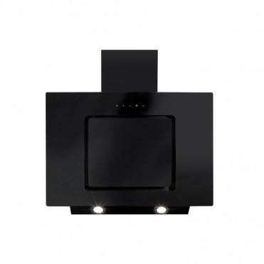 CDA Angled Extractor Black Glass With Level 2 Side Strips 70cm EVA70BL