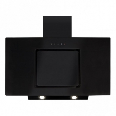 CDA Angled Extractor Black Glass With Level 2 Side Strips 90cm EVA90BL