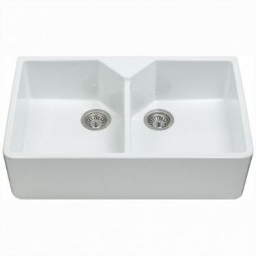 cda belfast 20 bowl white ceramic kitchen sink kc12wh - Double Ceramic Kitchen Sink