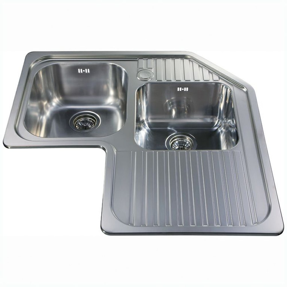 Cda Ccp3ss 2 0 Bowl Polished Stainless Steel Corner Kitchen Sink Waste Kitchen From Taps Uk