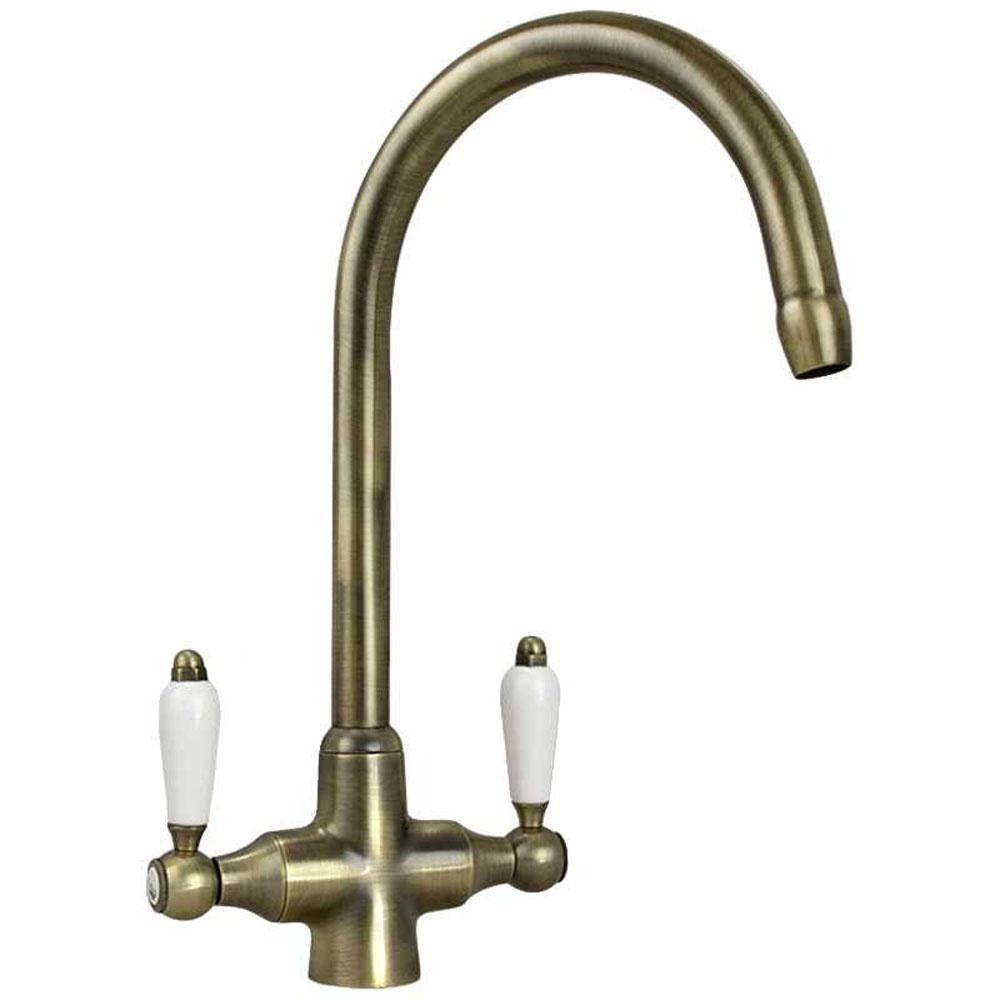... Antique Bronze Double White Ceramic Handle Kitchen Sink Mixer Tap 7018