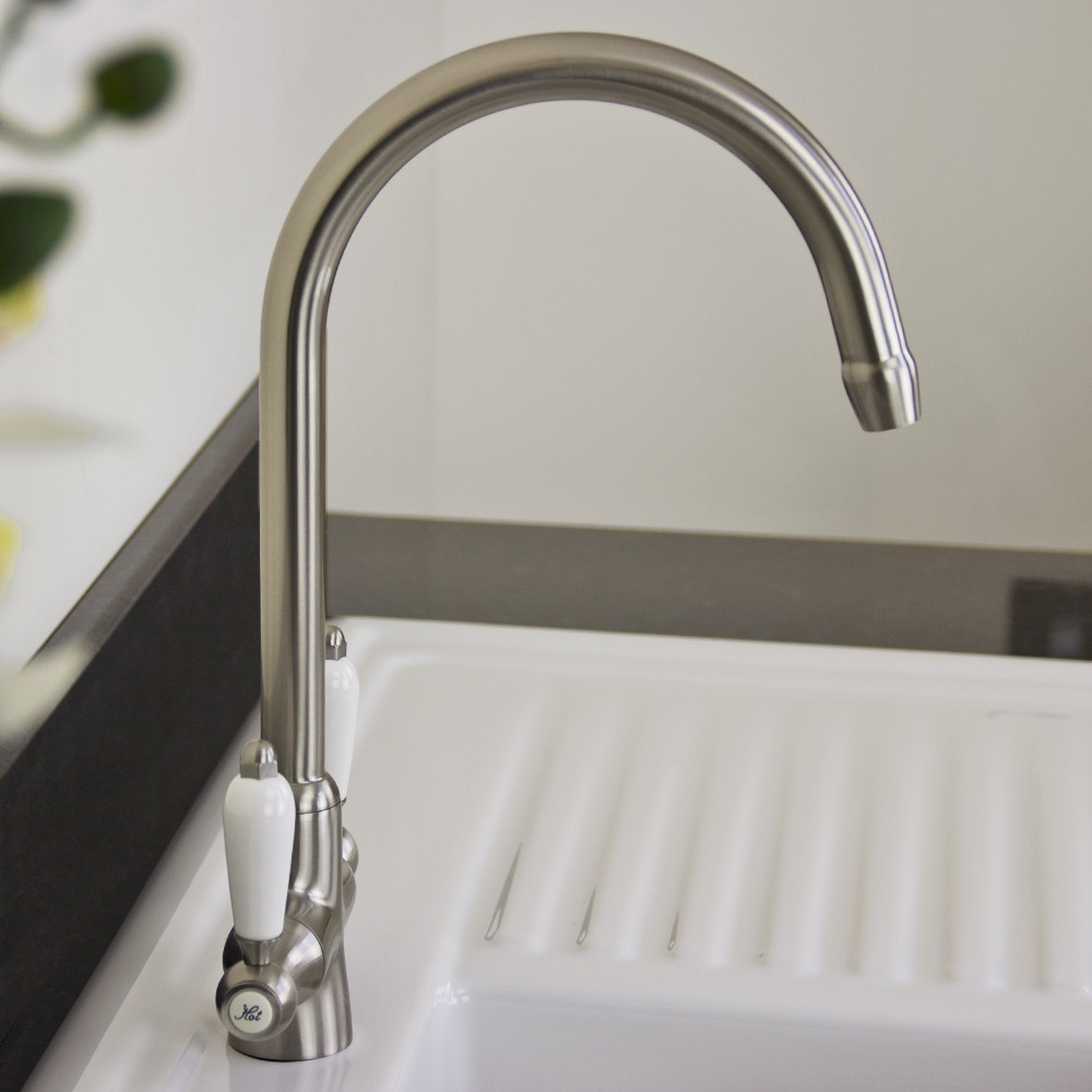 ... Brushed Steel Double White Ceramic Handle Kitchen Sink Mixer Tap 7018
