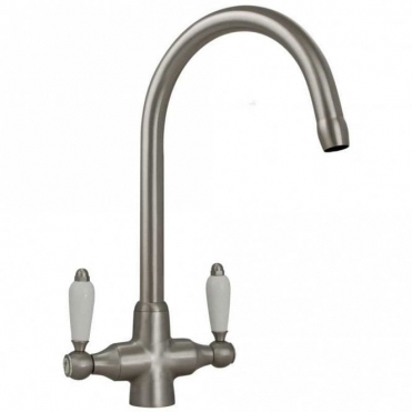 None Colonial Brushed Steel Double White Ceramic Handle Kitchen Sink Mixer Tap 7018