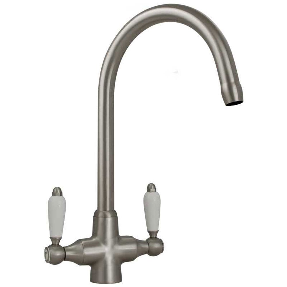 colonial brushed steel double white ceramic handle kitchen sink mixer tap 7018 p7842 24942 zoom