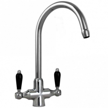 None Colonial Chrome Double Black Ceramic Handle Kitchen Sink Mixer Tap 7018