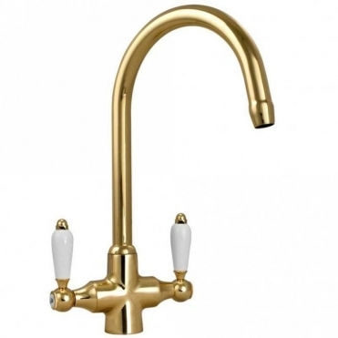 None Colonial English Gold Double White Ceramic Handle Kitchen Sink Mixer Tap 7018