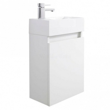 None Coma Compact Gloss White 400mm Wall Hung Bathroom Cabinet & Basin