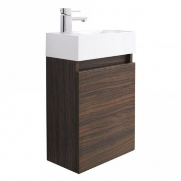 None Coma Compact Walnut 400mm Wall Hung Bathroom Cabinet & Basin