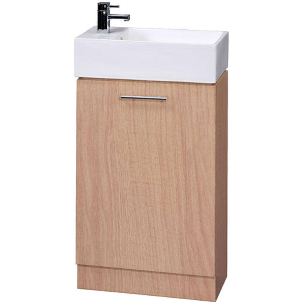 compact beech floor standing bathroom cabinet 1th basin none from