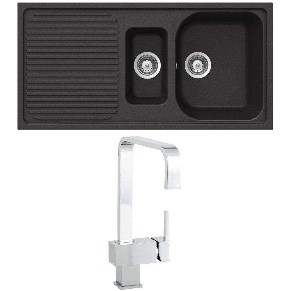 Granite Kitchen Sinks Uk Cosmo 5e Tap Schock Lithos D150 15 B Granite Nero Black Kitchen