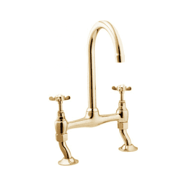 Deva Coronation Gold Twin Handle Kitchen Bridge Mixer Tap CR305-501