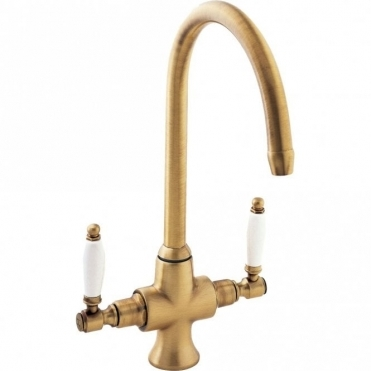 Deva Georgian Bronze Twin Lever Kitchen Sink Mixer Tap SM056-BZ
