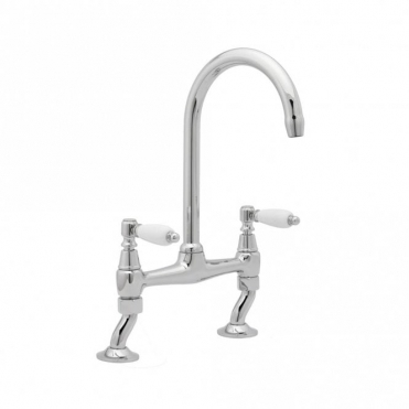 Deva Georgian Chrome Twin Handle Kitchen Bridge Mixer Tap GEO305