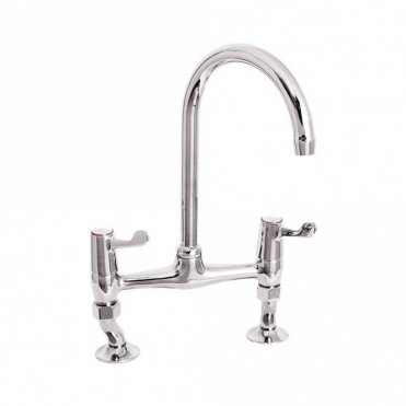 Deva Lever Action Chrome Lever Bridge Sink Mixer Tap DLT305B