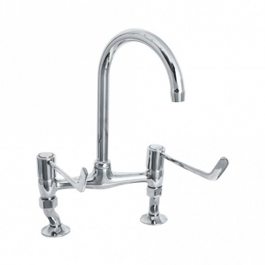 Deva Lever Action Chrome Lever Bridge Sink Mixer Tap DLV305B