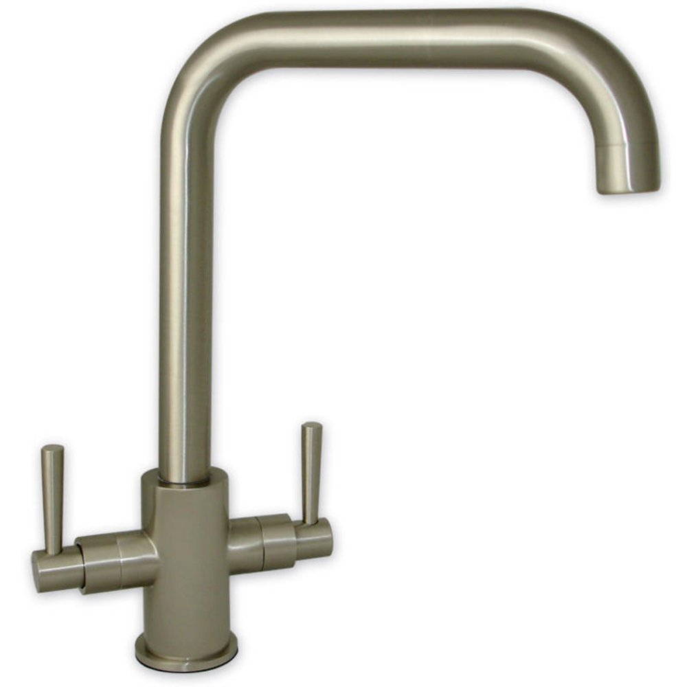 ... Brushed Steel U Spout Twin Handle Swivel Spout Kitchen Sink Mixer Tap
