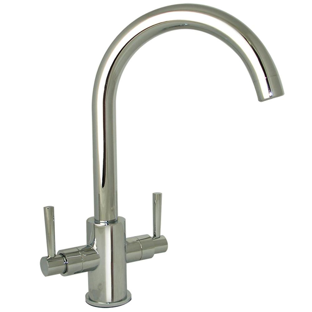 Erise Chrome Twin Handle Swivel Spout Kitchen Sink Mixer Tap - Kitchen sink taps uk
