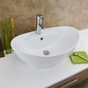 Europa Maltese 1TH White Ceramic Counter Top Basin A7