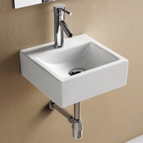 Europa Pavia 350x350 1th White Ceramic Wall Hung Basin 4550