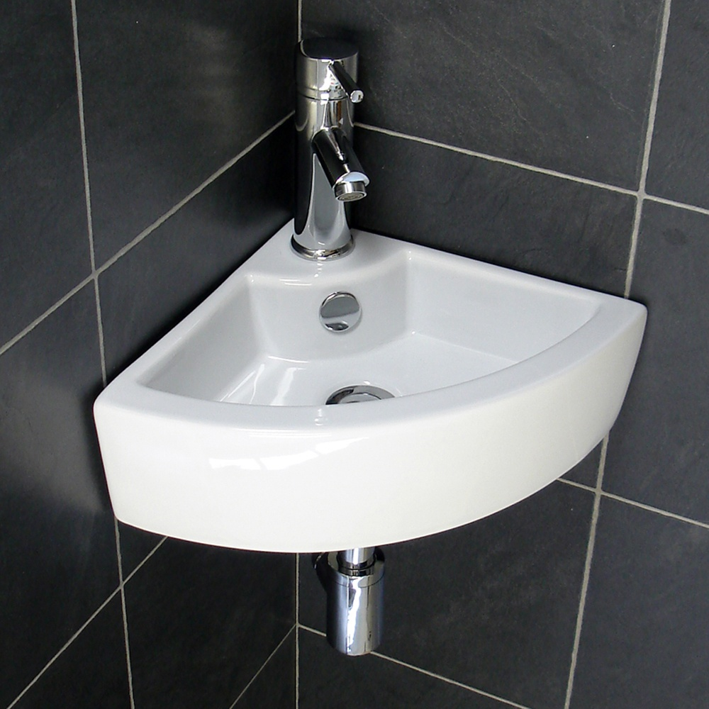 Europa topax 1th white ceramic corner basin 4299 waste tap - Small corner bathroom sinks ...