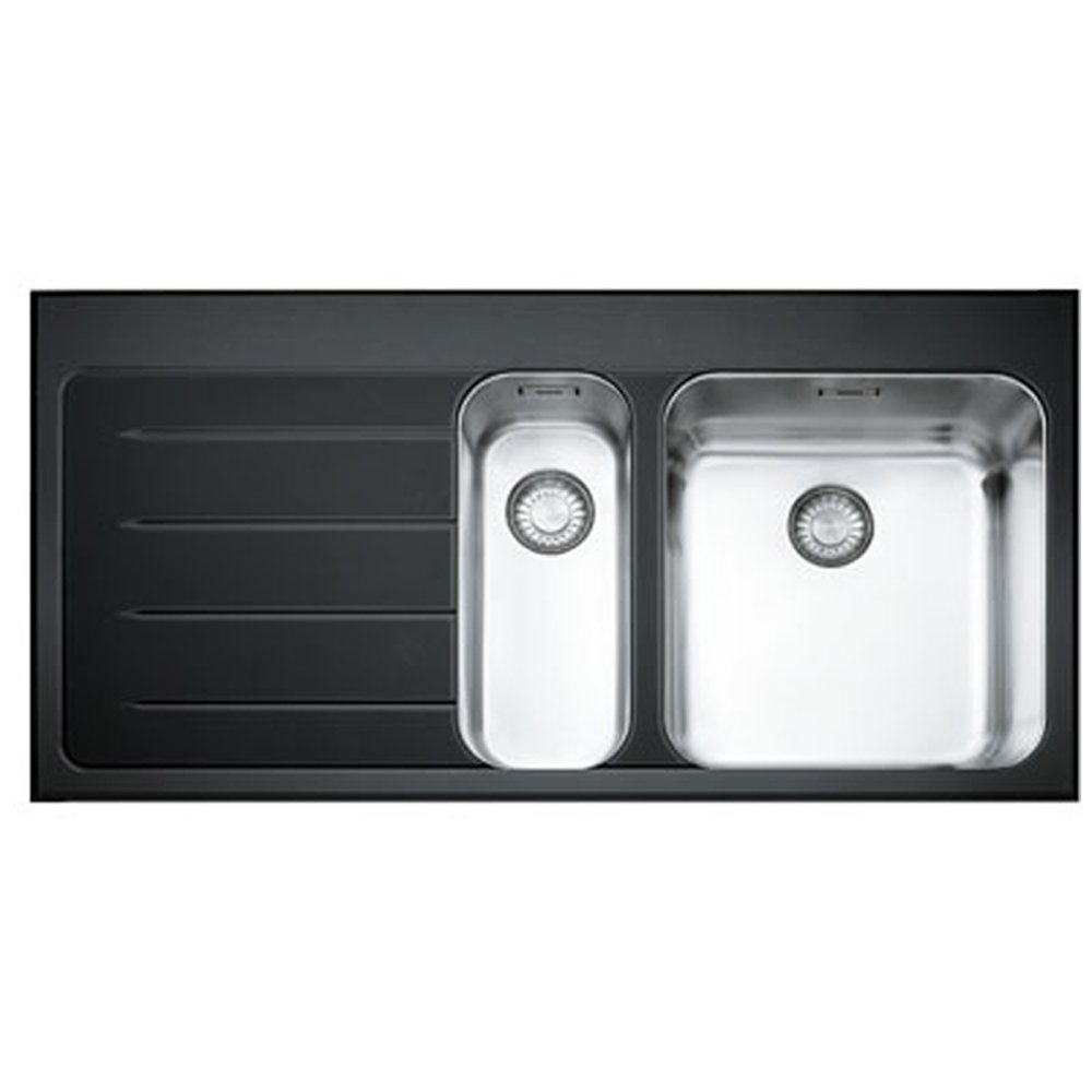 Black Stainless Kitchen Sink : Franke Epos 1.5 Bowl Black Glass Stainless Steel Kitchen Sink & Waste ...