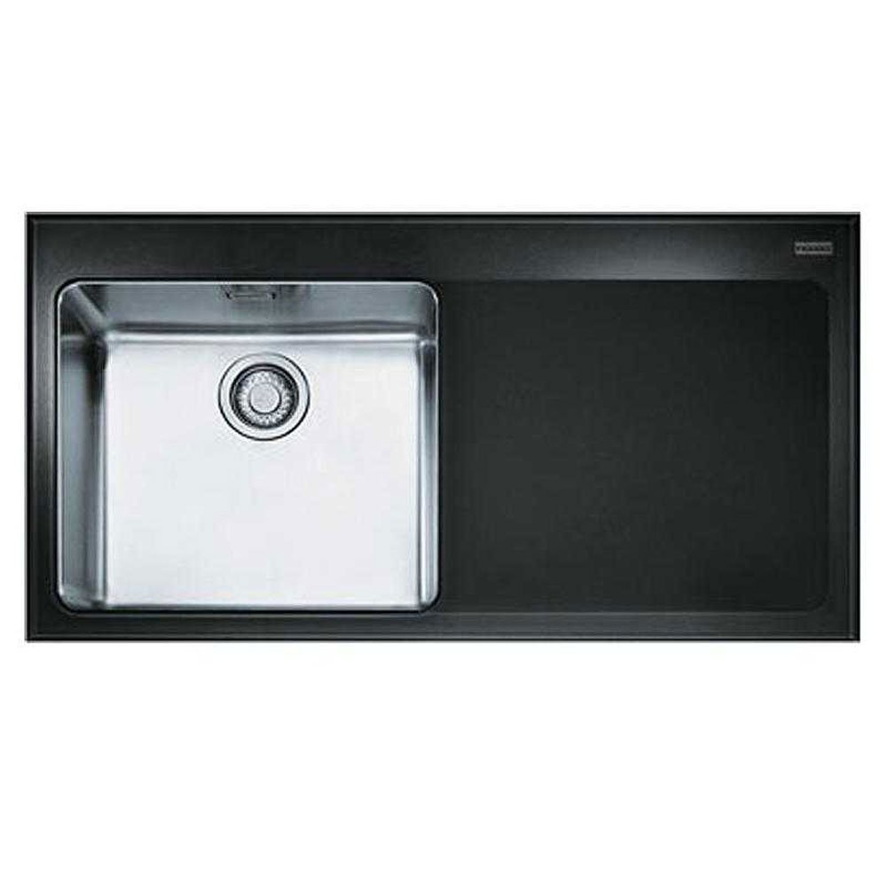 Franke Black Glass Sink : Franke Kubus 1.0 Bowl Silk Stainless Steel & Black Glass Kitchen Sink ...