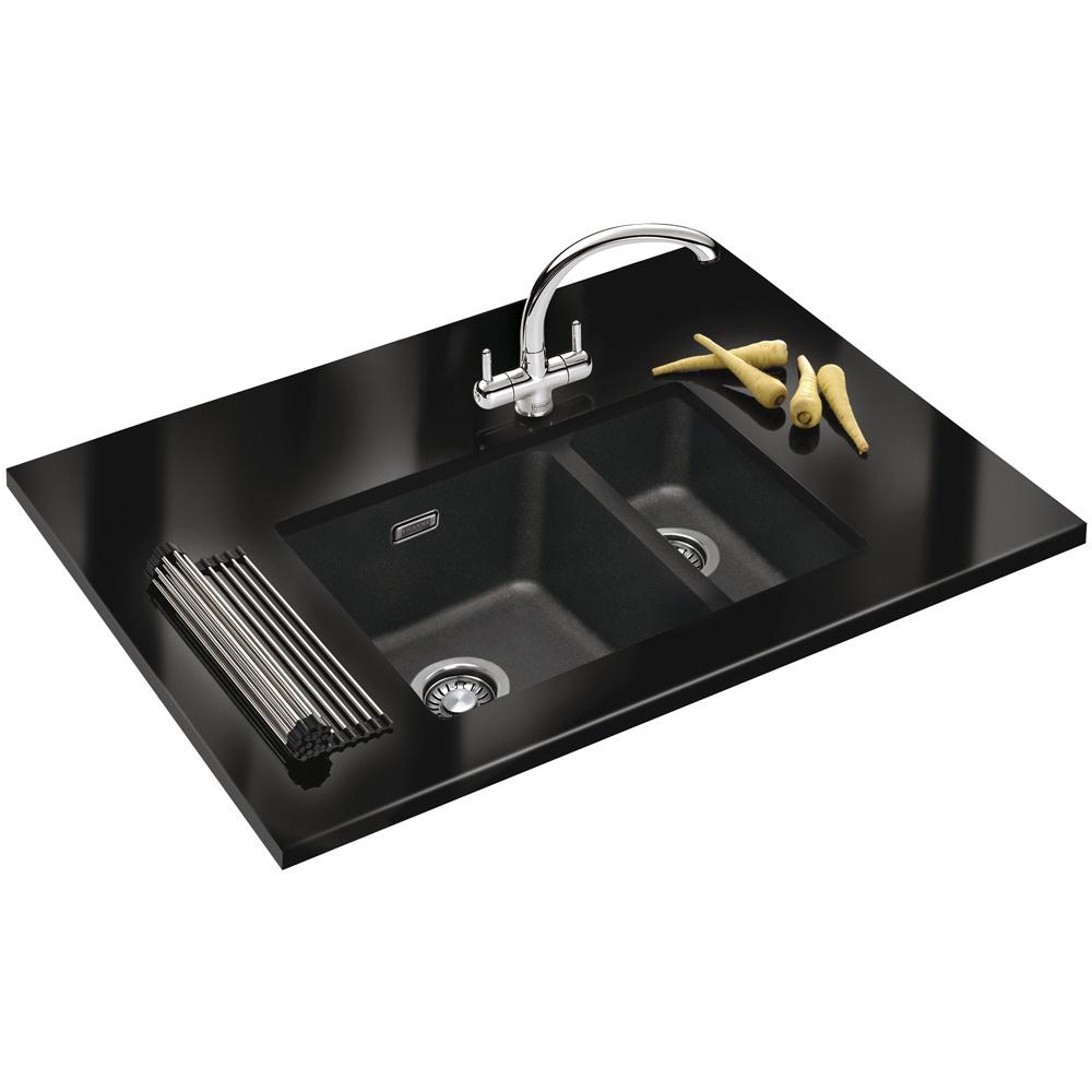 Franke Sirius SID160 1.5 Bowl Synthetic Carbon Black Kitchen Sink RHSB ...