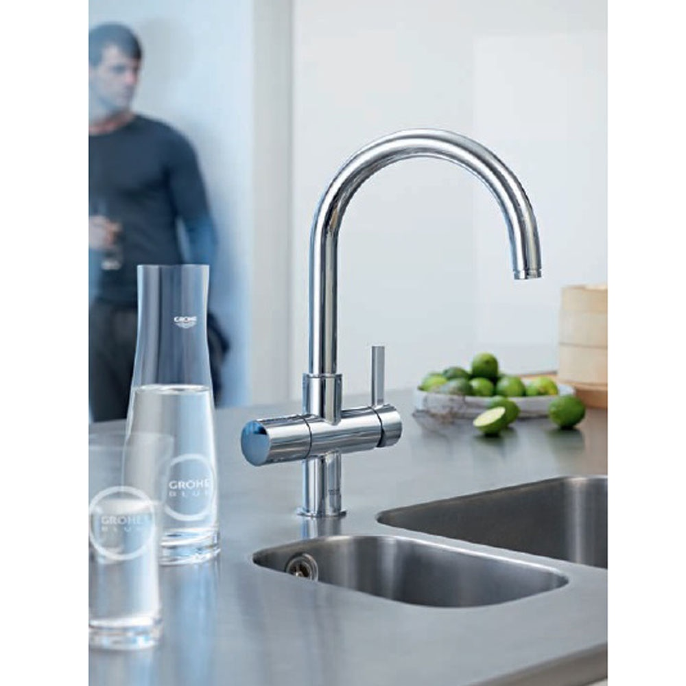 Grohe Blue Chilled Sparkling Chrome C Spout Kitchen Sink