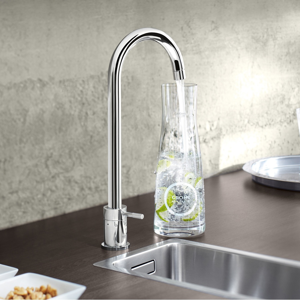 Grohe Blue Pure Brushed Supersteel Kitchen Sink Water