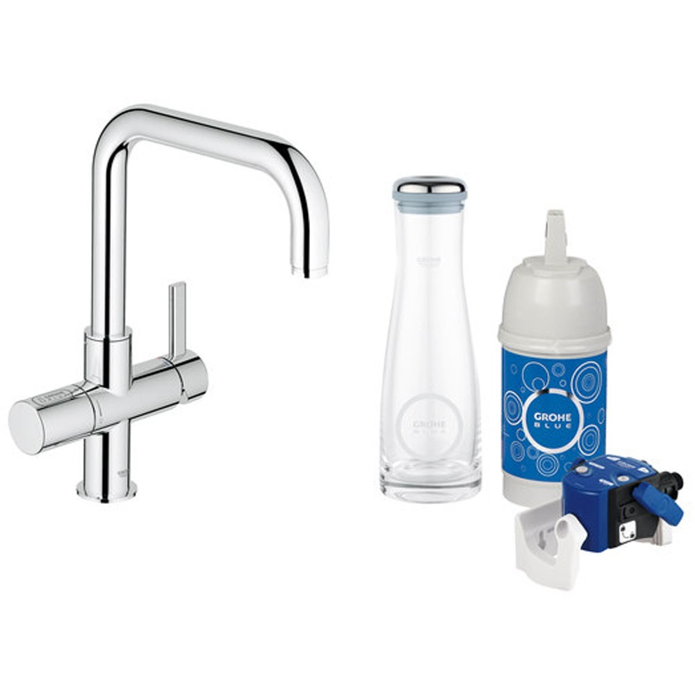 Grohe Blue Pure Chrome Ohm Swivel Spout Kitchen Sink Water