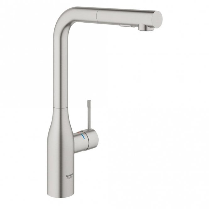 Grohe Essence Supersteel High Spout Pullout Kitchen Sink Mixer Tap