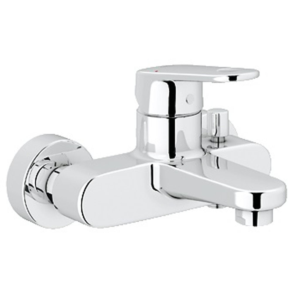 grohe europlus chrome wall mounted bath shower mixer tap