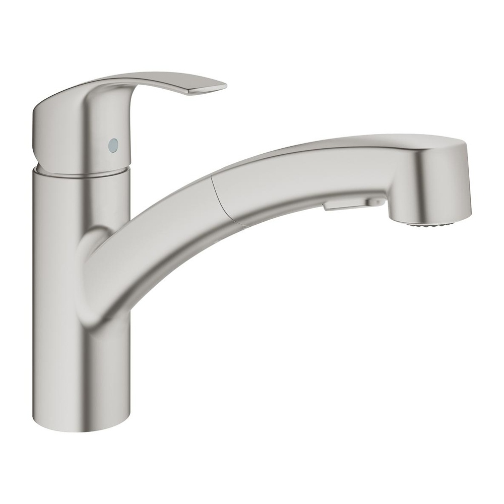 Grohe Eurosmart Supersteel Pullout Spout Kitchen Sink Mixer Tap ...