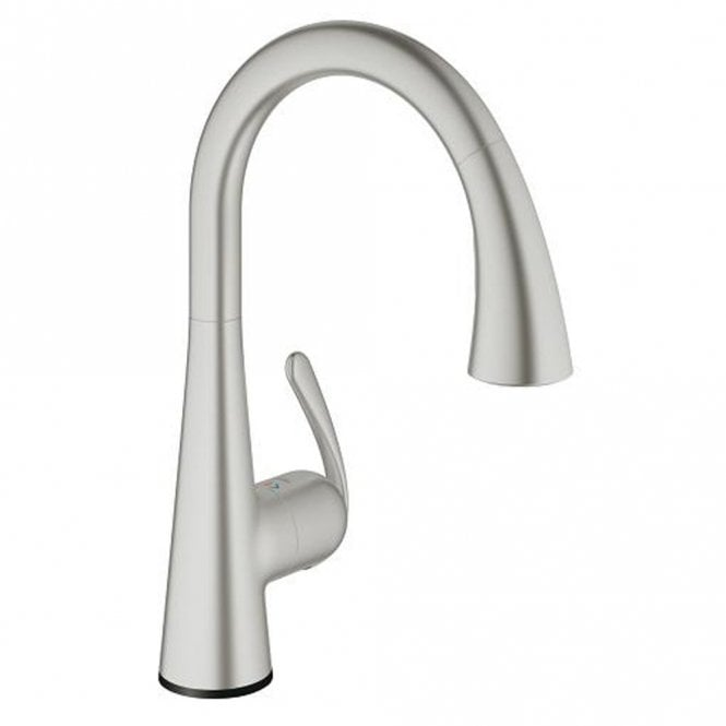 Grohe Zedra Touch Supersteel Pullout Spout Kitchen Sink Mixer Tap