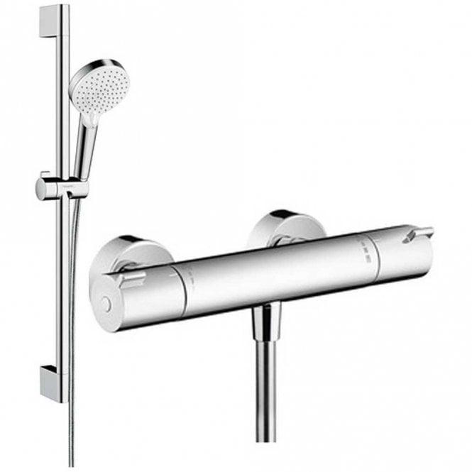 Hansgrohe Ecostat 1001CL Thermostatic Shower Valve U0026 Crometta Vario Shower  Head