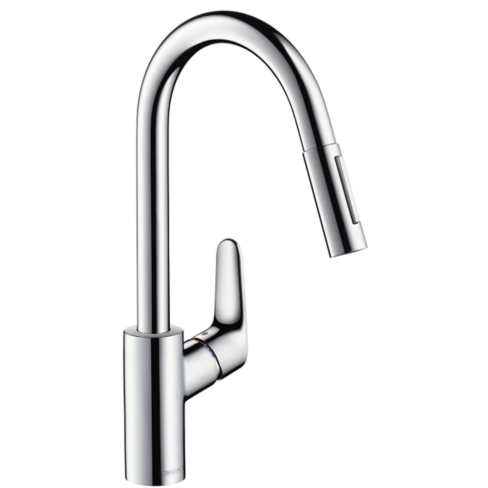 Hansgrohe Focus Chrome Single Lever Pullout Spray Kitchen Sink Mixer