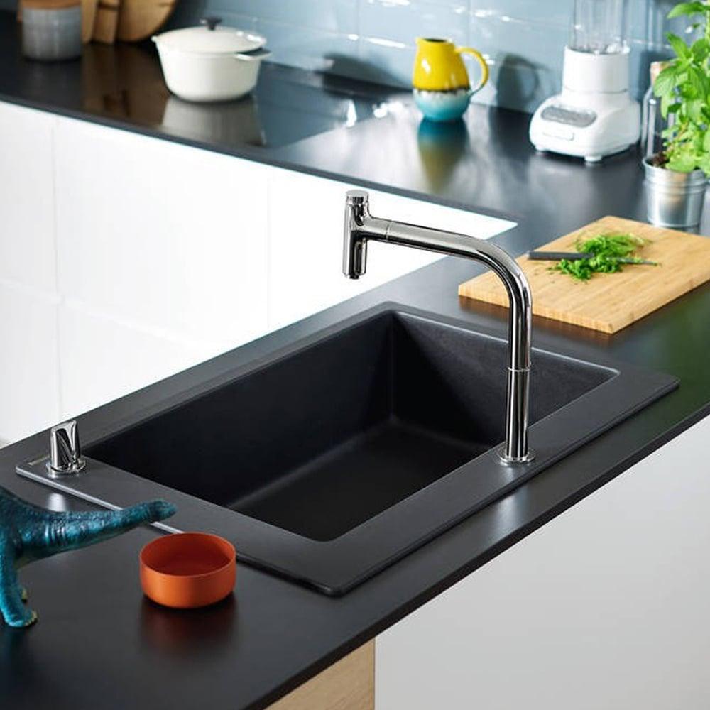 Hansgrohe S510 F660 1 0 Bowl Graphite Black Kitchen Sink 43313170 Kitchen From Taps Uk