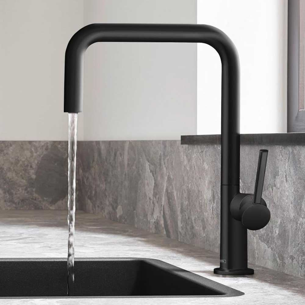 Hansgrohe Talis M54 Matt Black Single Lever Kitchen Sink Mixer Tap 72806670 Single Lever Taps From Taps Uk