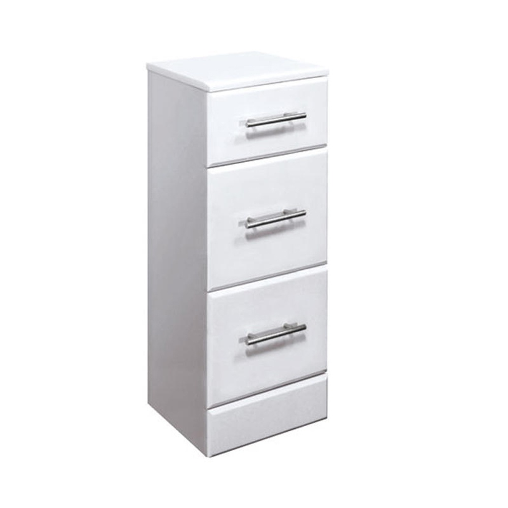 . High Gloss White 350mm x 300mm Floor Standing 3 Drawer Cabinet