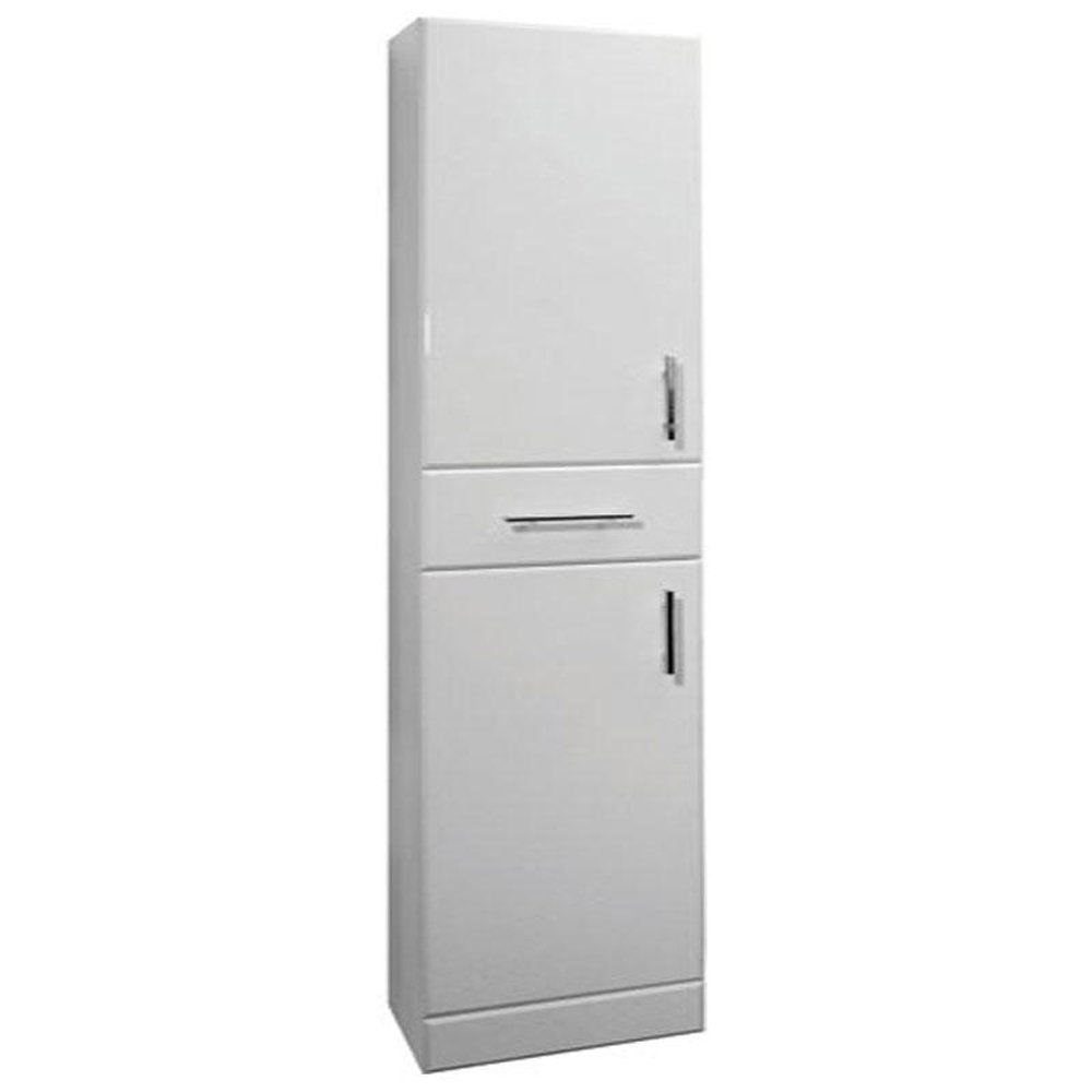 High Gloss White 350mm X 300mm Free Standing 2 Door Tall Cabinet