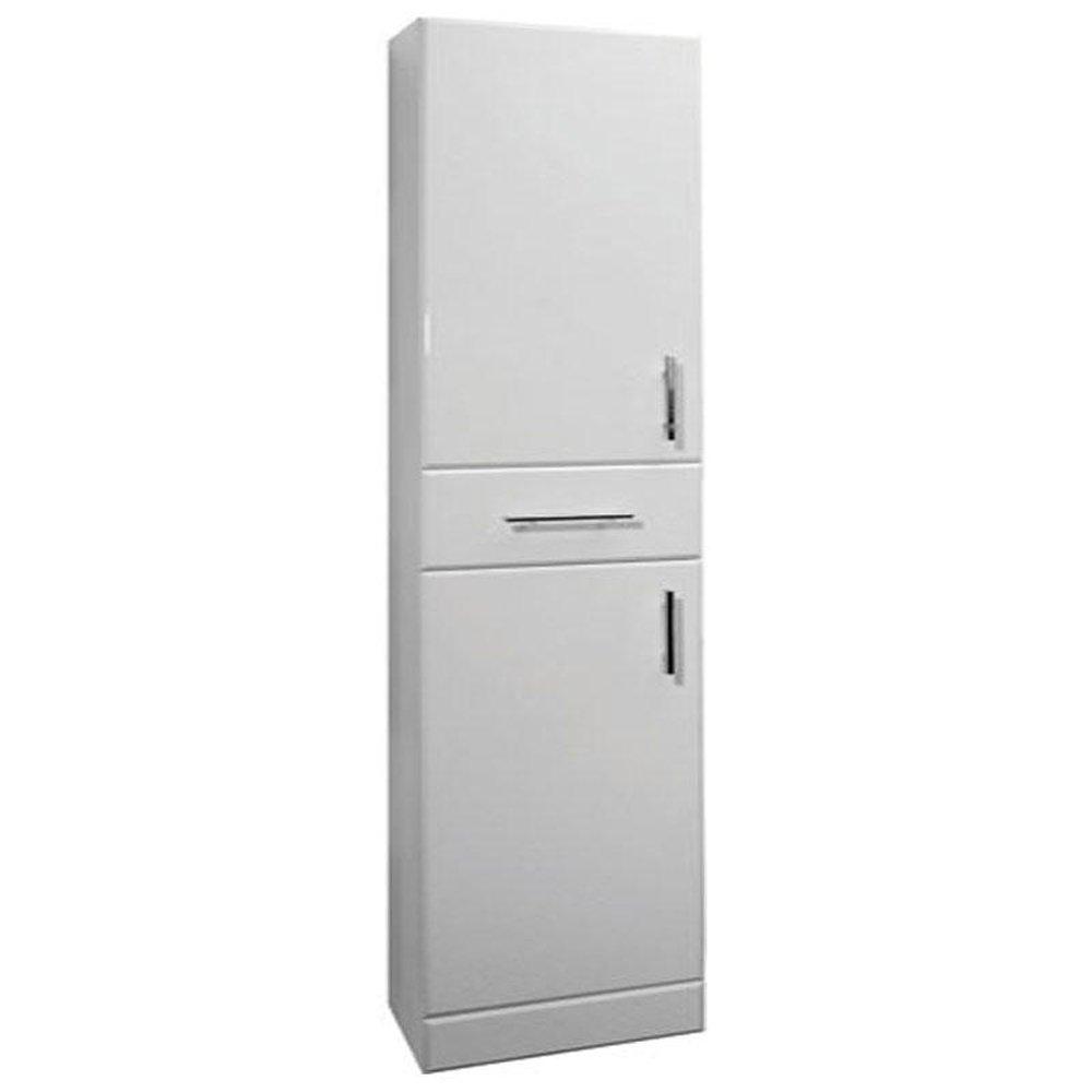 high gloss white 350mm x 300mm free standing 2 door tall cabinet