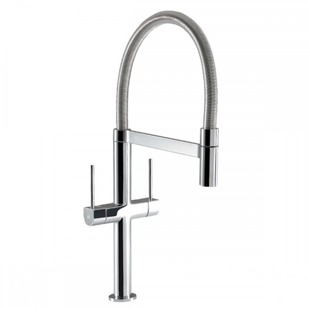 Hotpoint Professional Coil Chrome Twin Lever Kitchen Sink Mixer Tap ...
