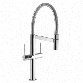 Hotpoint Professional Coil Chrome Twin Lever Kitchen Sink Mixer Tap