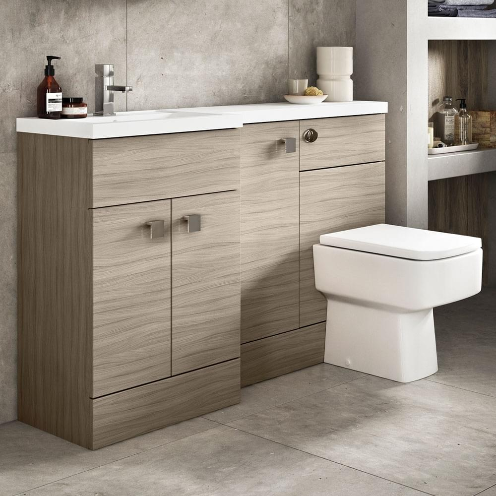 Hudson Reed Fusion Driftwood L Shape 1500mm Bathroom Furniture Pack 1 Lh Furniture Sets From Taps Uk