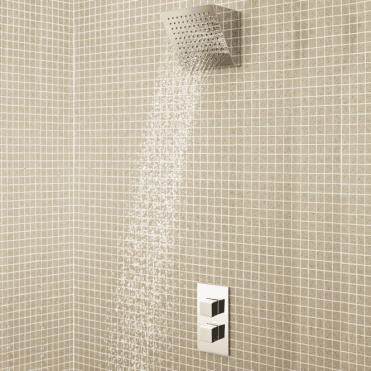 None Khone Concealed Square Slimline Chrome Thermostatic Waterfall Shower
