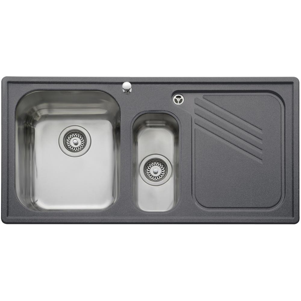 leisure gemini 1 5 neostone granite grey kitchen sink rhd