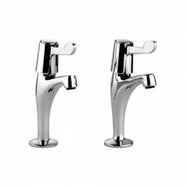 Leisure Sinks Leisure Lever Pillar Pair Chrome Kitchen Sink Mixer Tap TPT1CM-LV