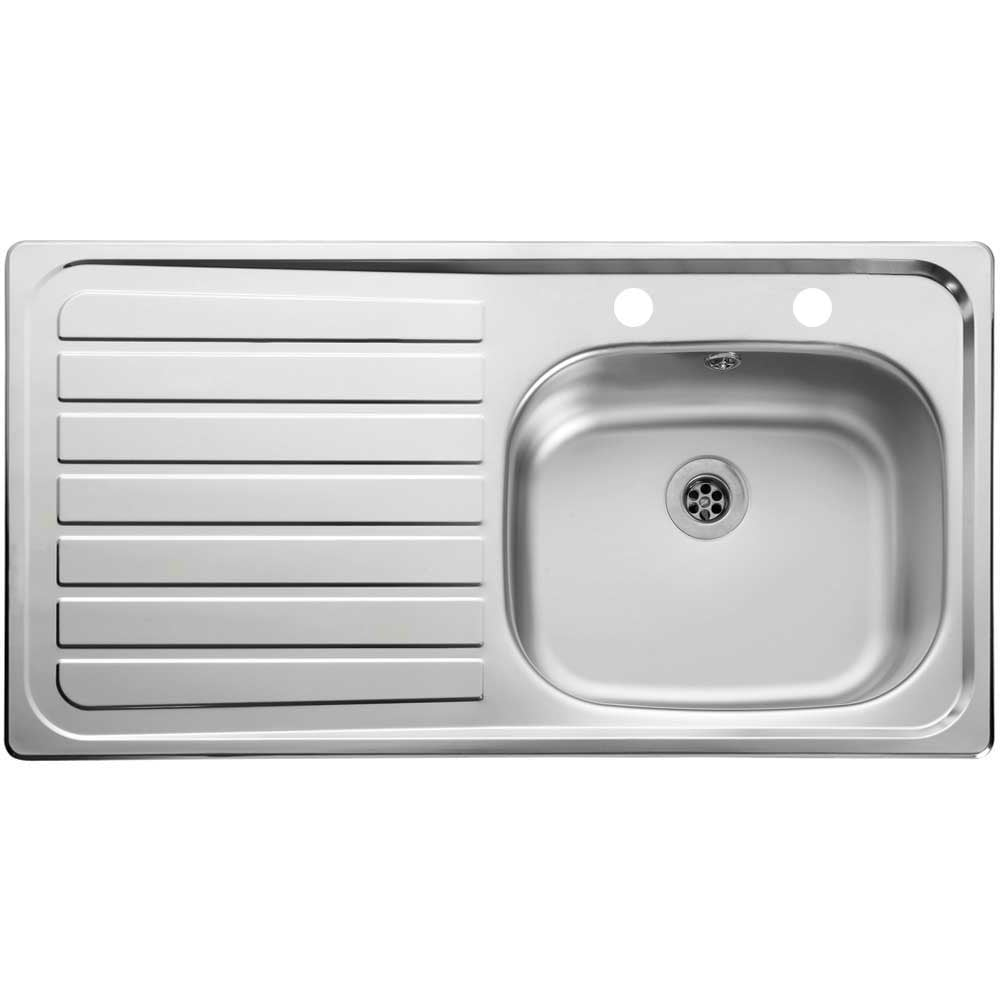Leisure Lexin 1 0 Bowl 2 Tap Hole Satin Stainless Steel Kitchen Sink Lhd Kitchen From Taps Uk